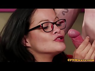 Spex CFNM milfs tugging cock until climax