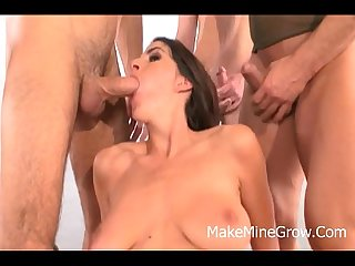 Roxxxy rush shot brunette get Dp on group sex