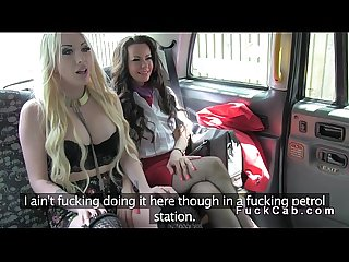 Threesome with hot babes in fake taxi in public