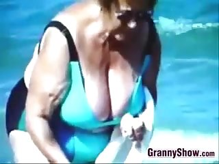 Russian grandmothers out at the beach