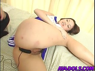 Japanese cheerleader exposes tight pussy for hot action