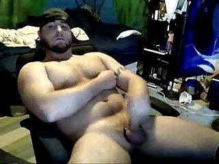 Baseball Bear jacks and cums on his Chest