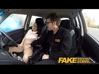 Fake driving school half asian tiny student fucks for free lessons