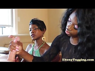 Tugging glam ebony duo share a white cock pov