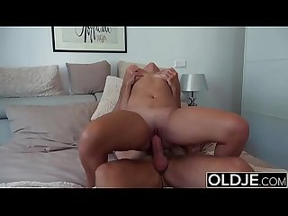 Old Young Big Tits Teen Gives Titjob and gets facial from Grandpa in bed