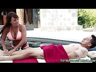 Masseuse jizz mouth pool