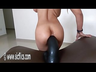 Gigantic dildo wrecks her greedy ass