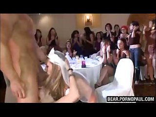 Bride to be sucking dick at party