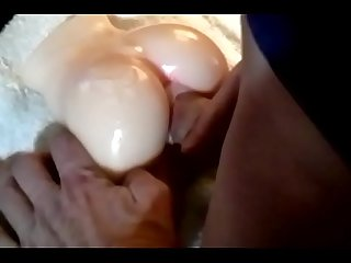 Amazing little latex fucktoy creamed