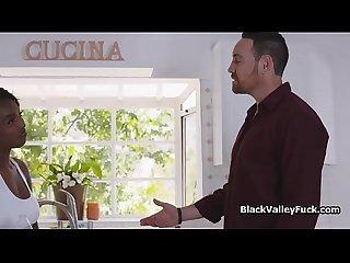 Big tit black tennis babe blows cock