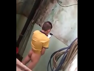 Chinese guy jerking in Toilet Spy cam