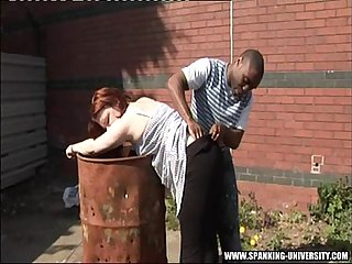 Interracial public spanking of white girl