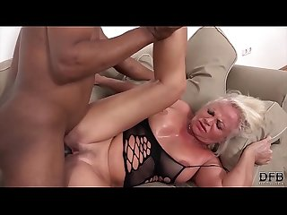 White mature has multiple orgasms during sex with black man