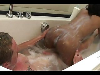 Petite asian masseuse grinds over client with soapy pussy