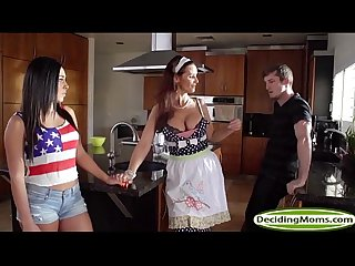 Stepmum syren teaches teen gianna how to please her man