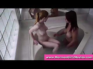 Two mormon teen girls lick pussy and rim in the bath