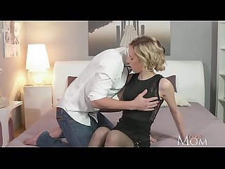 Mom rampant blonde has powerful orgasm from young studs big cock