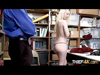 Darcie leans against the desk for horny officer to expand her pussy with dick