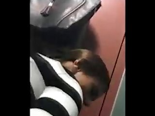 Slut sucks fucks guy she just met in public toilet