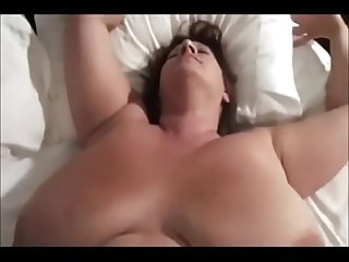 Chubby pushy wife gets lots of cum all over her gigantic balloons