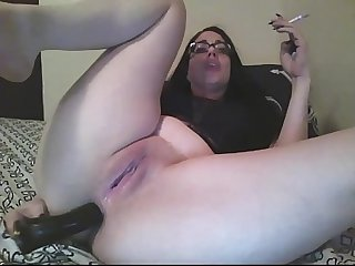 Smoking and fucking my ass on cam