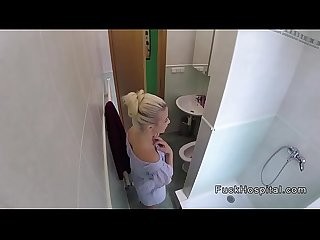 Doctor bangs blonde showered patient