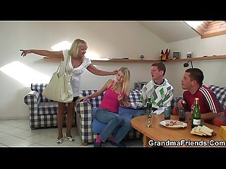 Partying guys nail blonde grandmother