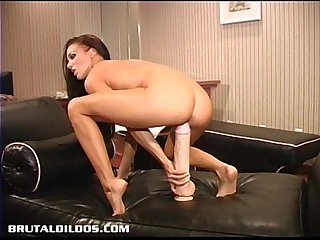 Judy stretched out by brutal dildo