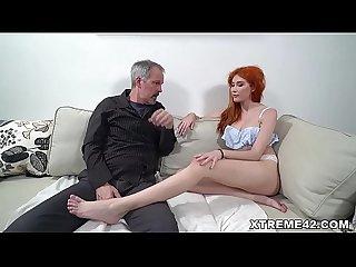 Russian redhead fucks an old man