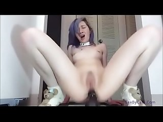 Camgirl fucking her ass with a big dildo