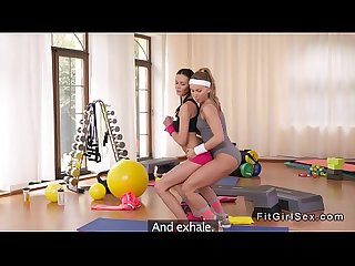 Slim fit lesbians fingering at the gym