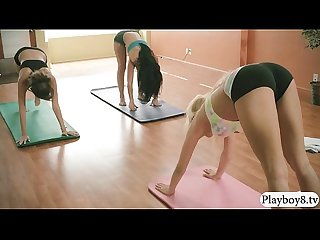 Yoga tutor teaches 2 brunette hot babes with new techniques