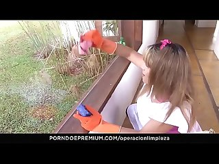 Operacion limpieza latina maid kathy solis cowgirl rides boss in his home