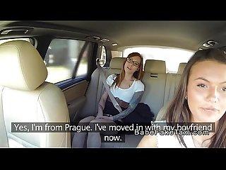 Redhead lesbo licks female fake taxi driver
