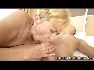 Old woman takes creampie