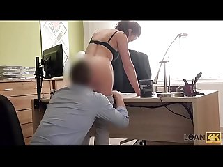 LOAN4K. Brunette has sex for cash for the first time in loan company