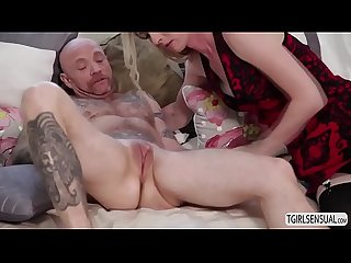 Hot blonde shemale mandy mitchell gives a hardcore fuck