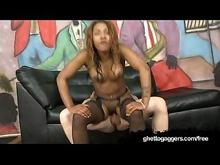 Nicki b gets her black pussy railed by white cocks