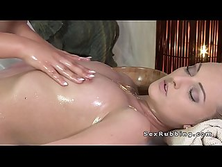 Brunette lesbian masseuse and blonde tribbing