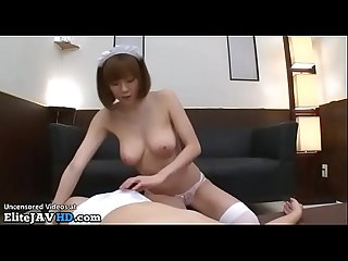 Japanese busty maid satisfies stressed boss