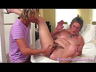 Granny in first time dildo solo