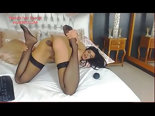 Romanian webcam girl anal sex with dildo wearing black nylon stockings sexy feet hot slut
