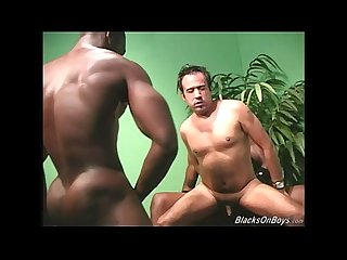 Muscular black men fucking the ass of a white guy
