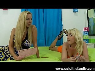 Blonde british milf teaches daughter to suck cock
