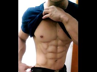 China Chinese gay muscle guy young man amateur selfie solo wank jerking off