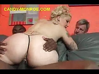 Blonde fucked by massive black