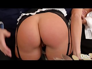 Hair pulling & double penetration gives submissive maid Mea Melone orgasms