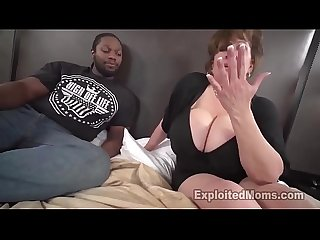 Big tit amateur gives first interracial bj