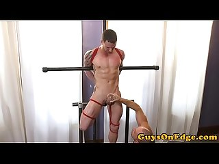 Cocksucking dom jerks and edges tied up sub