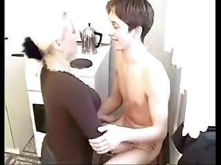 Russian blonde mother knows how to make her son cum